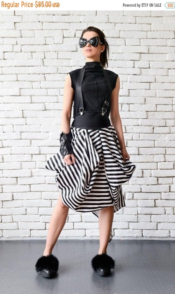 35% OFF Asymmetric Black and White Skirt/Suspenders Stripe Skirt/Short Summer Skirt/Loose Party Skirt/Casual Midi Skirt/Monochrome High Wais