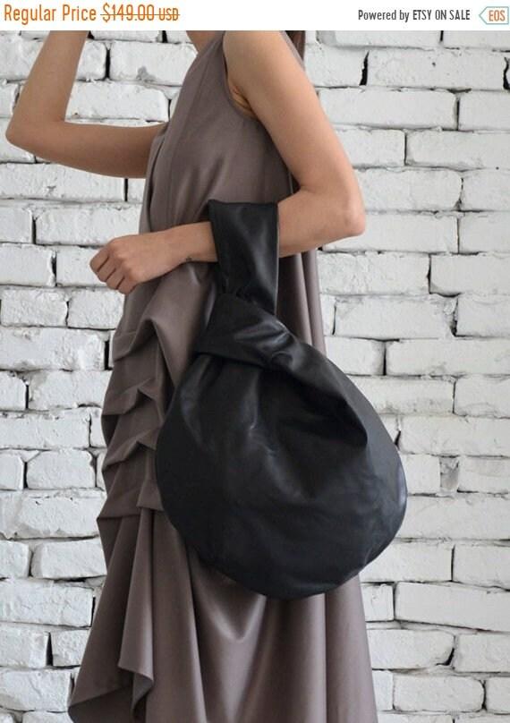 15% OFF Black Circle Bag/Modern Leather Bag/Extravagant Genuine Leather Tote/Small Black Clutch/Casual Black Leather Handbag/Mini Tote Bag/C