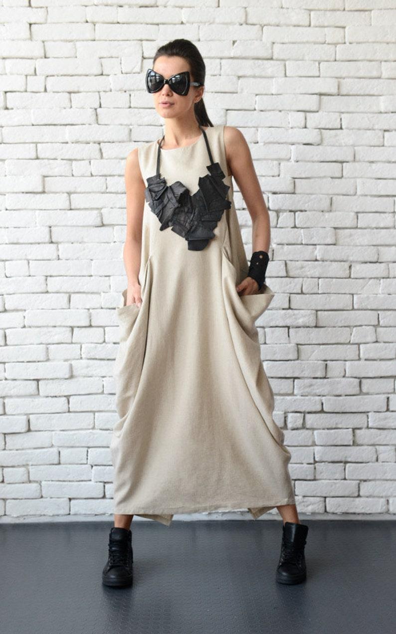 Linen Maxi Dress/Extravagant Beige Loose Tunic/Linen image 0
