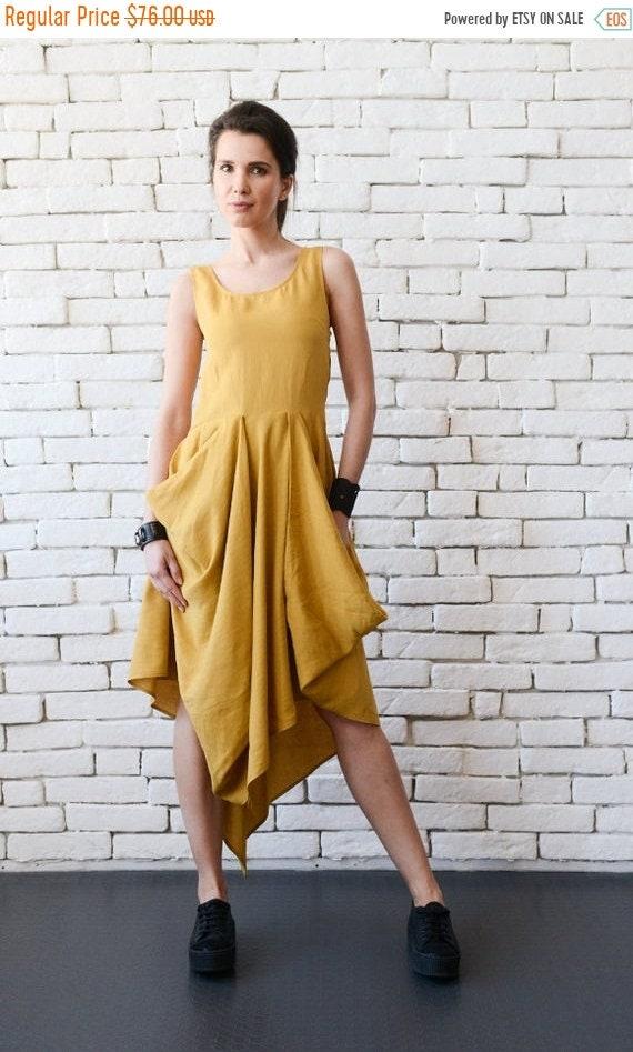 35% OFF Asymmetric Linen Dress/Mustard Long Short Tunic Top/Extravagant Casual Dress/Sleeveless Linen Dress/Yellow Kaftan/Extravagant Long D