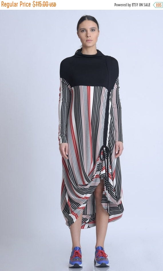 20% OFF NEW Extravagant Stripe and Black Dress/Long Loose Dress/Colorful Stripe Dress/Casual Comfortable Tunic Dress/Long Sleeve Kaftan METD