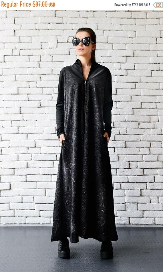 35% OFF Black Maxi Dress/Long Zipper Dress/Oversize Black Kaftan/Plus Size Maxi Dress/Long Sleeve Dress/Loose Black Dress/Comfortable Black