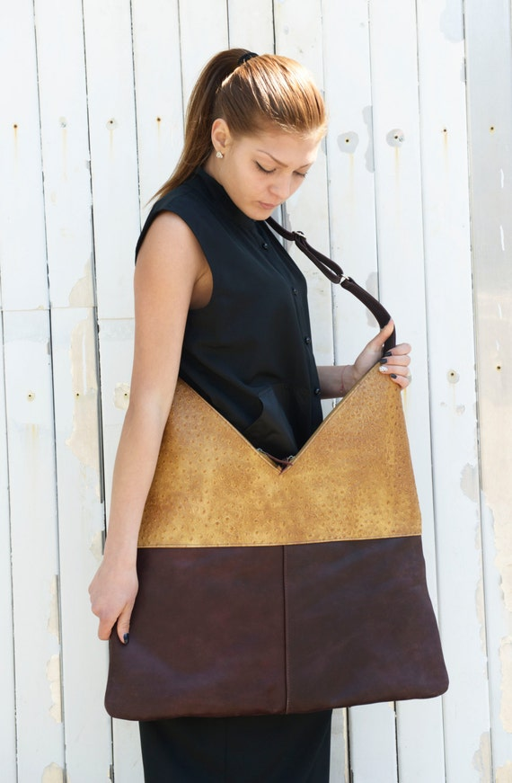 Brown Leather Bag / Maxi Tote Bag / Shoulder Bag / Genuine Leather Bag/ Large Tote Bag / Two Color Leather Bag / Interesting Pattern Bag