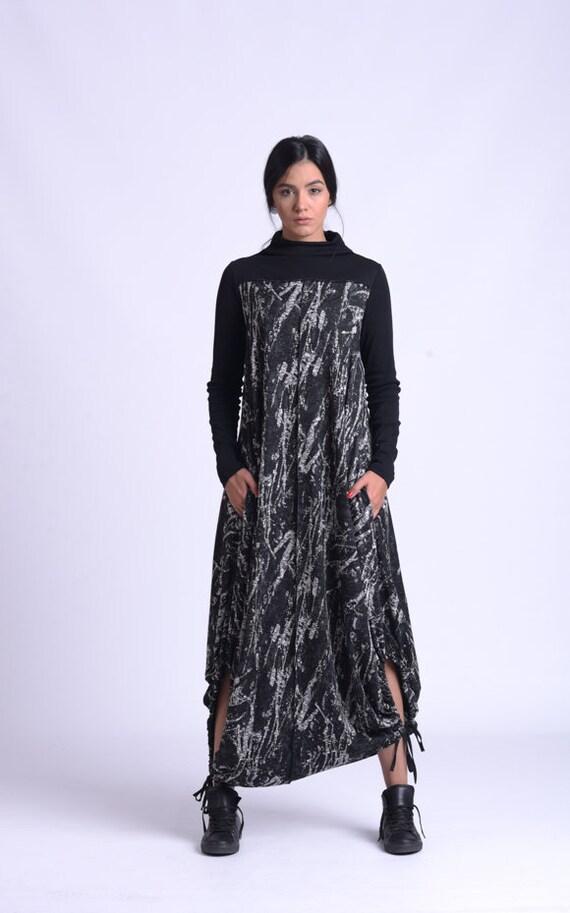 NEW Long Oversize Maxi Dress/Abstract Pattern Kaftan/Plus Size Casual Dress/Asymmetric Pocket Dress/Long Sleeve Fall Loose Dress MET