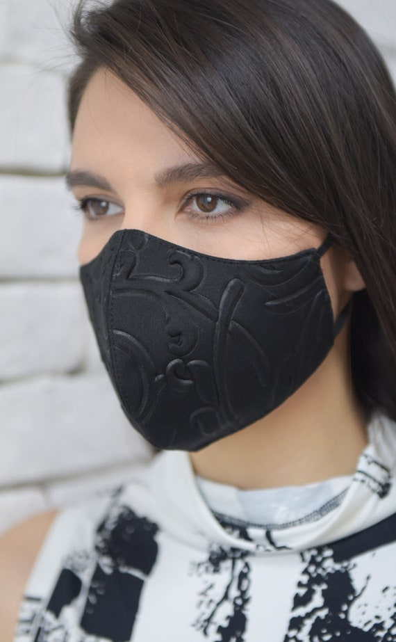 NEW Flower Print Neoprene Face Mask/Double Layer Mask/Filtered Face Mask/Mask with OEKO Certificate Filter/Black Safety Mask/Protection Mask