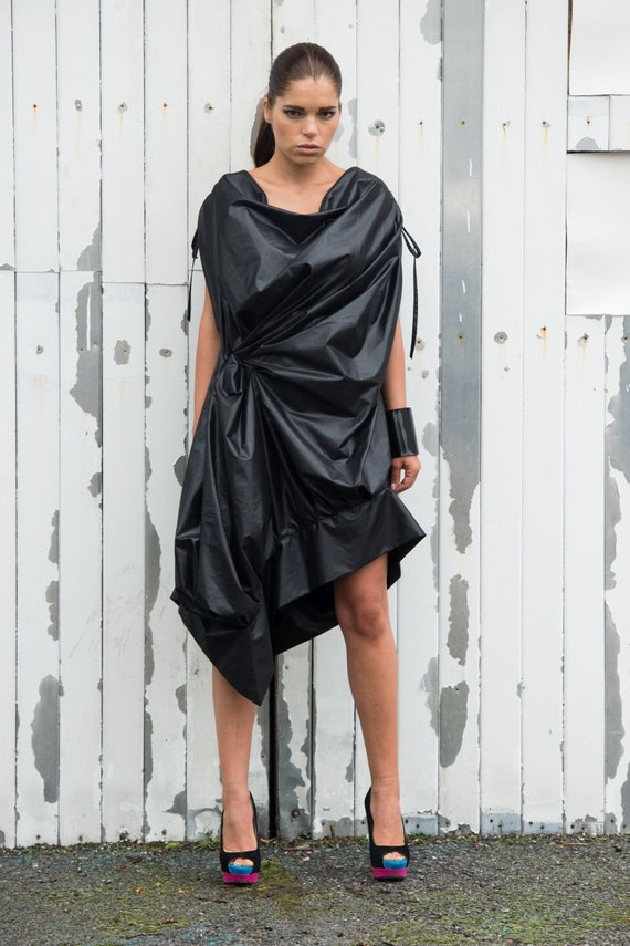 Black Extravagant Dress/Asymmetrical Black Top/Black Tunic Dress/Loose Black Dress/Sleeveless Party Dress/Asymmetric Dress METD0080