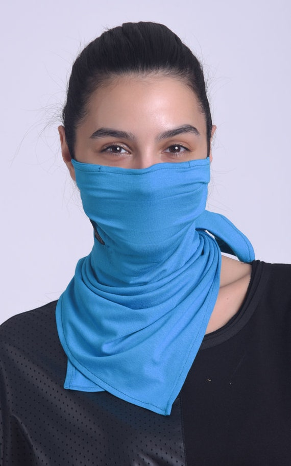 Blue Bandana Mask/Double Layer Face Cover/Everyday Neck Gaiter/Scarf Safety Mask/Blue Balaclava Cover/Viscose Mask/Face and Neck Long Mask