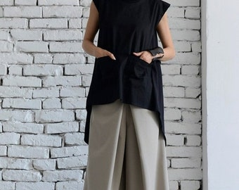 SALE Black Maxi Tunic/Asymmetric Casual Top/Open Back Top/Large Collar Black Shirt/Summer Oversize Tunic Top/Black Long Top by METAMORPHOZA