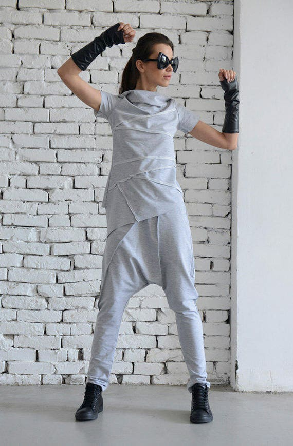 Light Grey Sport Set/Loose Two Piece/Asymmetric Tunic/Drop Crotch Pants/Hooded Tunic/Grey Casual Suit/Short Sleeve Hoodie/Grey Maxi Pants