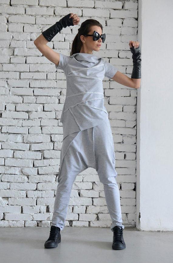 Light Grey Sport Set/Loose Two Piece/Asymmetric Tunic/Drop Crotch Pants/Hooded Tunic/Grey Casual Suit/Short Sleeve Hoodie METJ0005