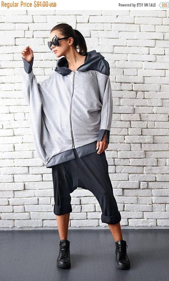 25% OFF Grey Maxi Jacket/Loose Asymmetric Tunic/Long Sleeve Top/Grey Short Coat/Oversize Cardigan/Zipper Blazer/Plus Size Shirt/Grey Hoodie