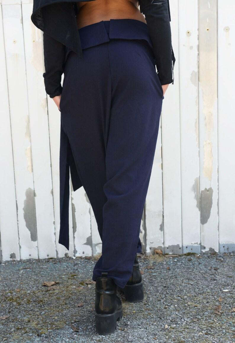 SALE Linen Pants  Dark Blue Pants  Linen Long Pants  Loose Trousers  Casual Pants  Belted Pants  Blue Pants by METAMORPHOZA