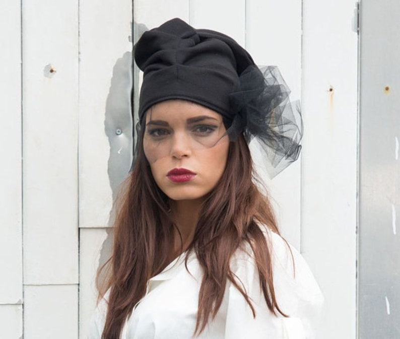 81ba44b3ddcd1 Black Beanie   Black Hat   Draped Hat   Hat with Veil
