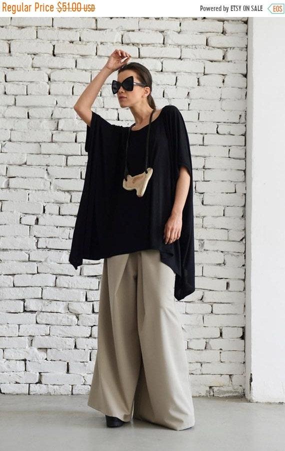 20% OFF Maxi Black Top/Loose Asymmetric Tunic/Oversize Top/Plus Size Black Top/Short Black Dress/Extravagant Shirt/Plus Size Maxi Tunic METT