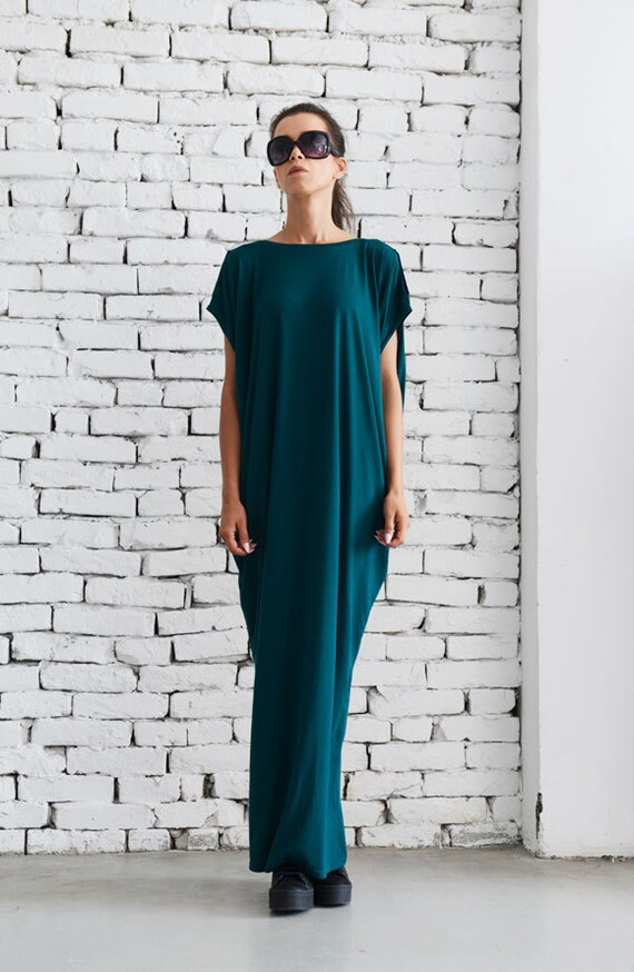 Maxi Dress/Loose Casual Kaftan/Petrol Long Tunic/Extravagant Plus Size Kaftan/Oversize Long Tunic Top/Evening Long Dress/Elegant Gown