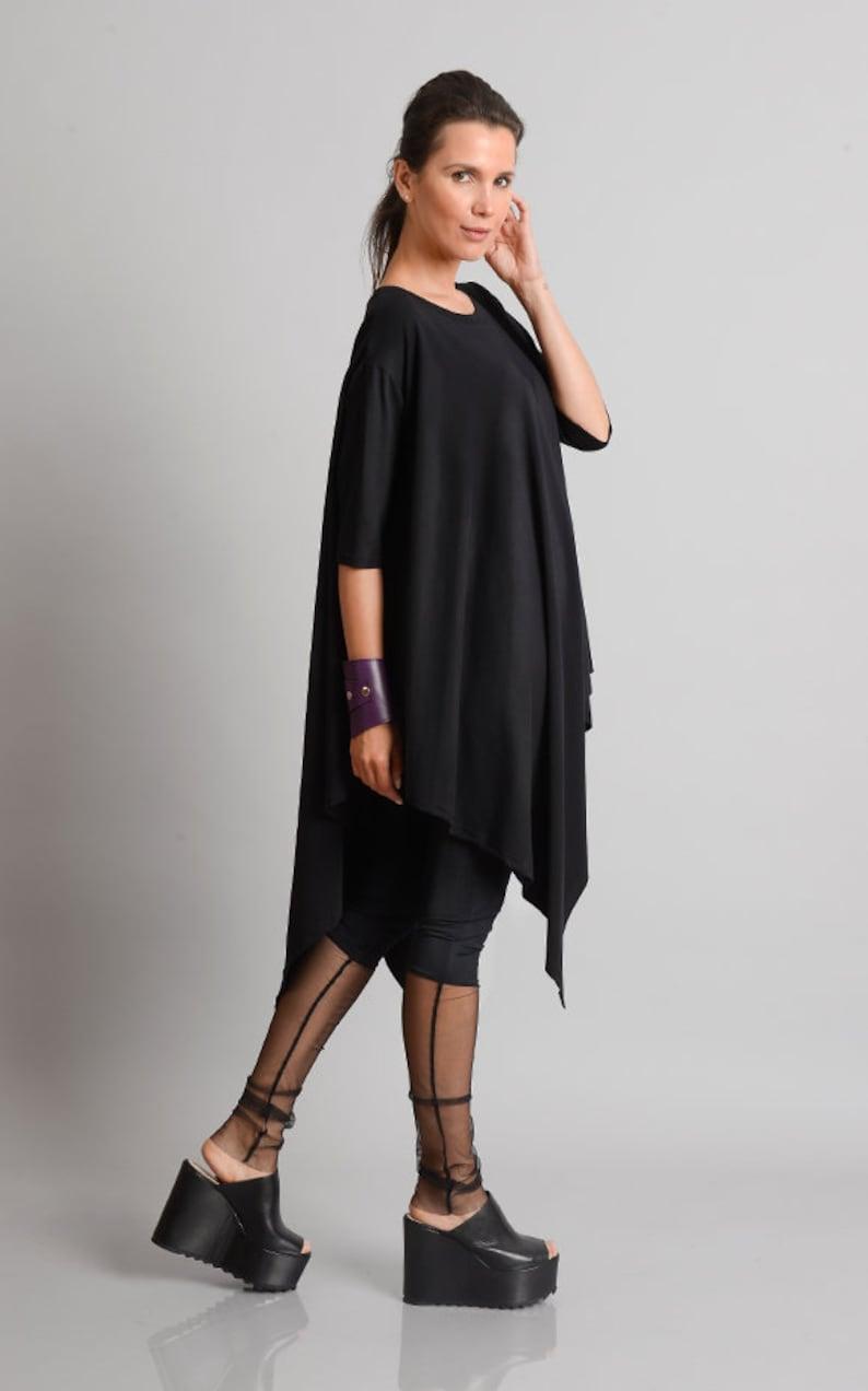 SALE Black Maxi TunicAsymmetric Loose TopCasual Everyday TunicMaxi Black TunicPlus Size Maxi TunicOversize Loose ShirtBlack Long Top