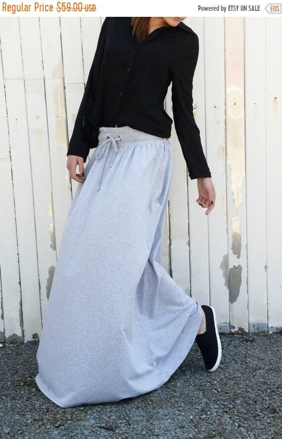 25% OFF Grey Loose Skirt / Long Pocket Skirt / Extravagant Maxi Skirt by METAMORPHOZA