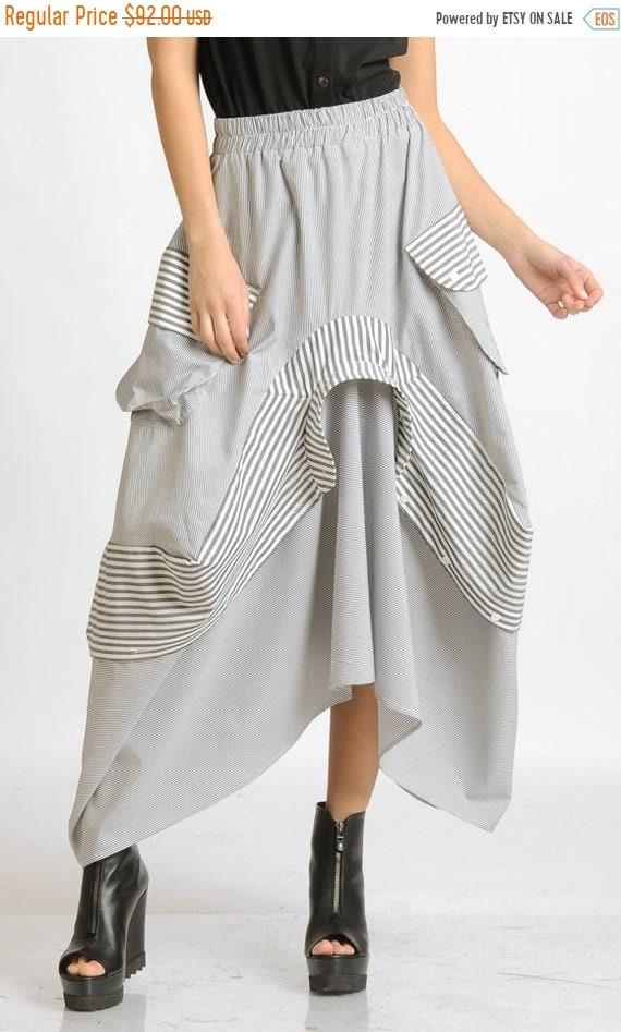 25% OFF Asymmetric Stripe Skirt/Extravagant Skirt/Elastic Waist Skirt with Pockets/Stripe Maxi Skirt/Plus Size Skirt/Oversize Casual Skirt M