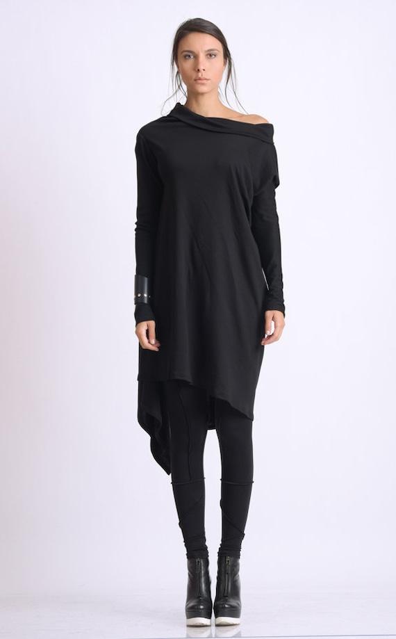 Black Asymmetric Tunic/Loose Long Top/Extravagant Casual Tunic/Oversize Black Long Top/Long Sleeve Tunic Top/Everyday Casual Black Tunic