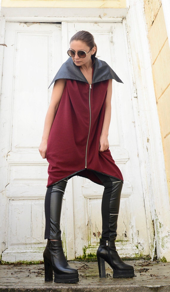 Wine Red Spring Vest/Loose Large Collar Top/ Maxi Tunic /Plus Size Sleeveless Coat/Casual Jacket/Long Maxi Top/Zipper Vest by METAMORPHOZA