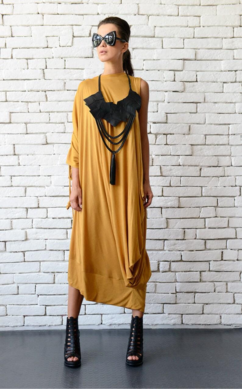 Mustard Kaftan/Plus Size Long Dress/Oversize Yellow image 0