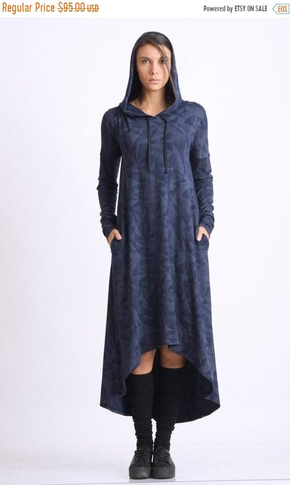 35% OFF Dark Blue Loose Dress/Plus Size Long Tunic/Extravagant Hooded Dress/Oversize Long Sleeve Top/Blue Pocket Dress/Casual Dress with Hoo