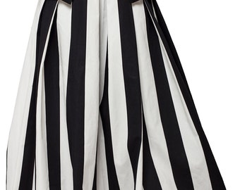 High Waist Black and White Skirt / Long Maxi Skirt / Pocket Skirt with Stripes / Fashionable High Quality Cotton Skirt by METAMORPHOZA