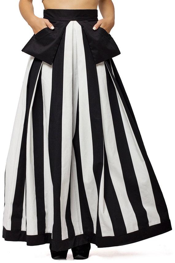 High Waist Black and White Skirt / Long Maxi Skirt / Pocket Skirt with Stripes / Fashionable High Quality Cotton Skirt by METAMORPHOZA