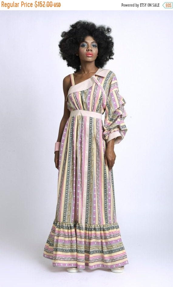 50% OFF Multi Color Long Dress/Loose One Sleeve Dress/Extravagant Colorful Kaftan/Naked Shoulder Party Dress/Wide Hem Summer Dress