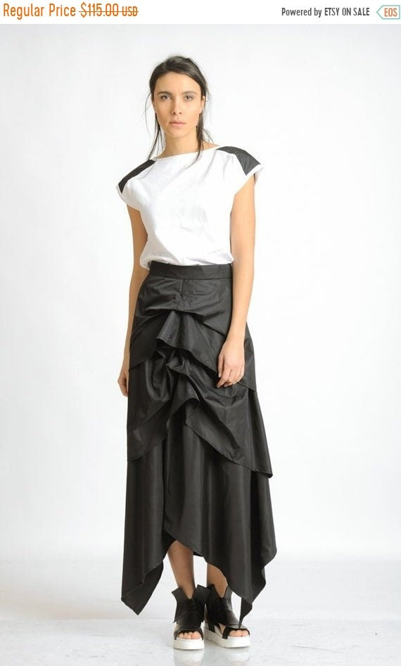 25% OFF Black Asymmetric Skirt/Extravagant Loose Long Skirt/Skirt with Hidden Zipper/Everyday Black Maxi Skirt/Oversize Shiny Skirt/Black Sk