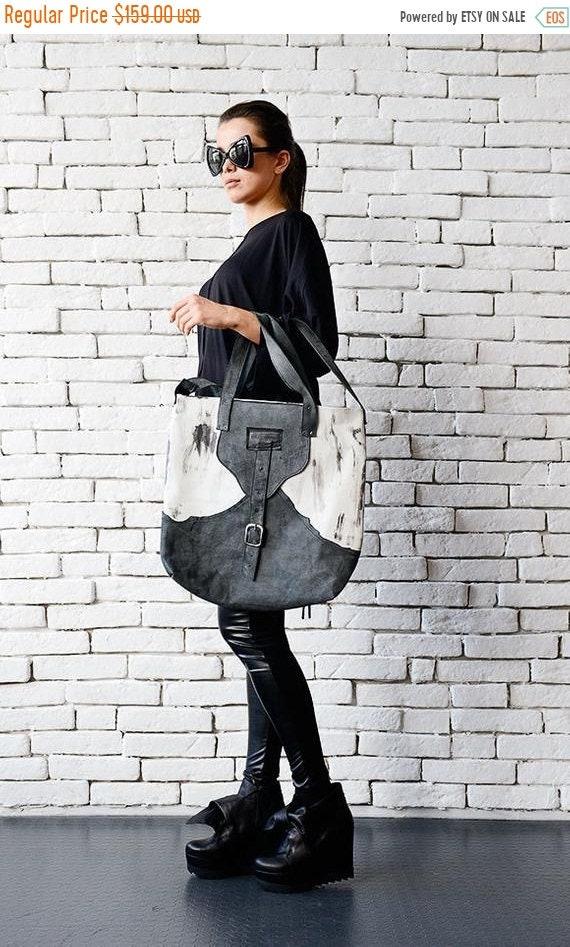 15% OFF Grey and White Tote Bag/Extravagant Leather Bag/Casual Shoulder Bag/Genuine Leather Clutch/Shoulder Bag/Leather Handbag/Modern Large