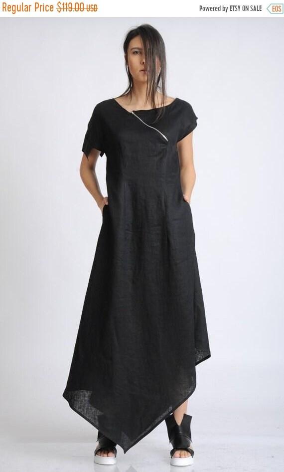 20% OFF Asymmetric Black Linen Dress/Extravagant Loose Long Dress/Oversize Summer Kaftan/Black Maxi Dress/Black Dress with Front Zipper