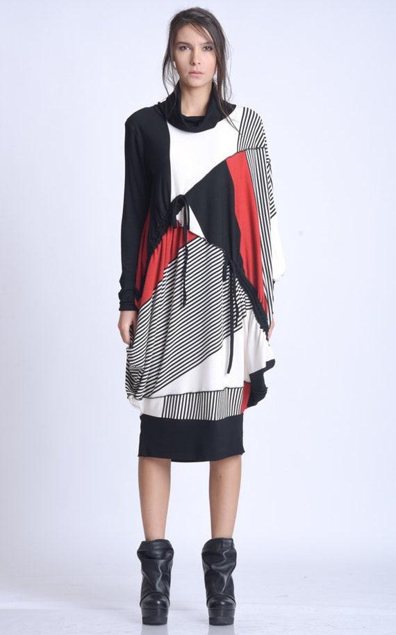 NEW Knee Length Avant Garde Dress/Plus Size Tunic/Oversize Long top/Long Sleeve Colorful Dress/Autumn Asymmetric Dress/Casual Stripe Dress