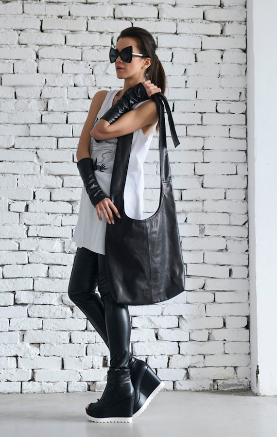 Black Casual Bag/Cross Body Leather Bag/Stylish Black Shoulder Bag/Extravagant Black Tote/Black Leather Everyday Bag/Casual Black Bag