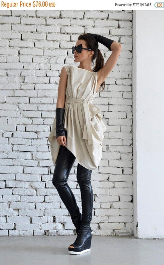 20% OFF Beige Asymmetric Top/Long Casual Top/Belted Loose Shirt/Maxi Summer Top/Oversize Beige Tunic/Sleeveless Short Dress/Modern Beige Top