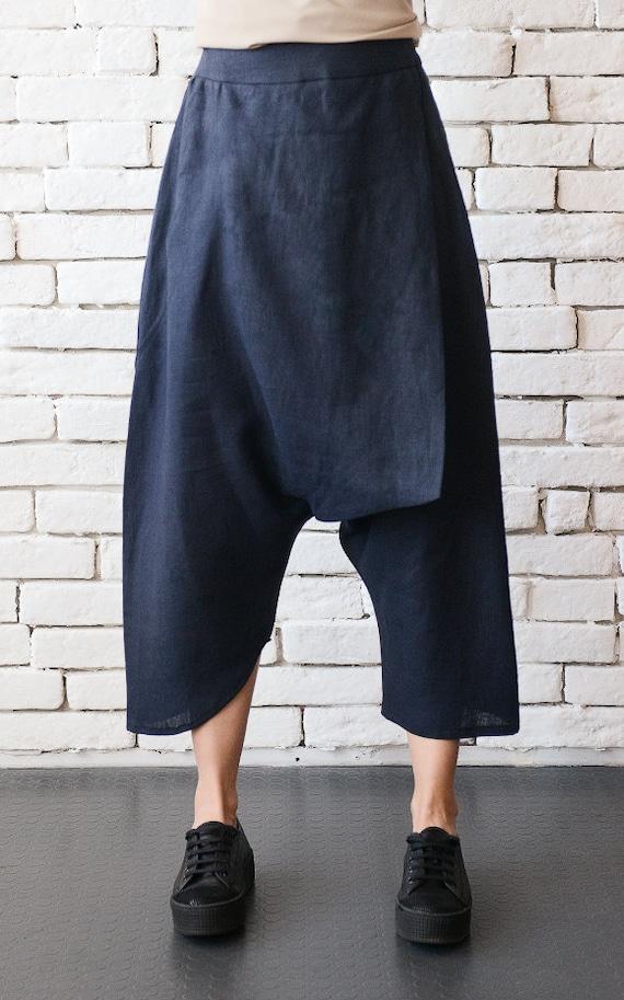 Oversize Loose Pants/Navy Linen Pants/Dark Blue Maxi Pants/Asymmetric Extravagant Pants/Wide Leg Harem Pants/Linen Capris METP0043
