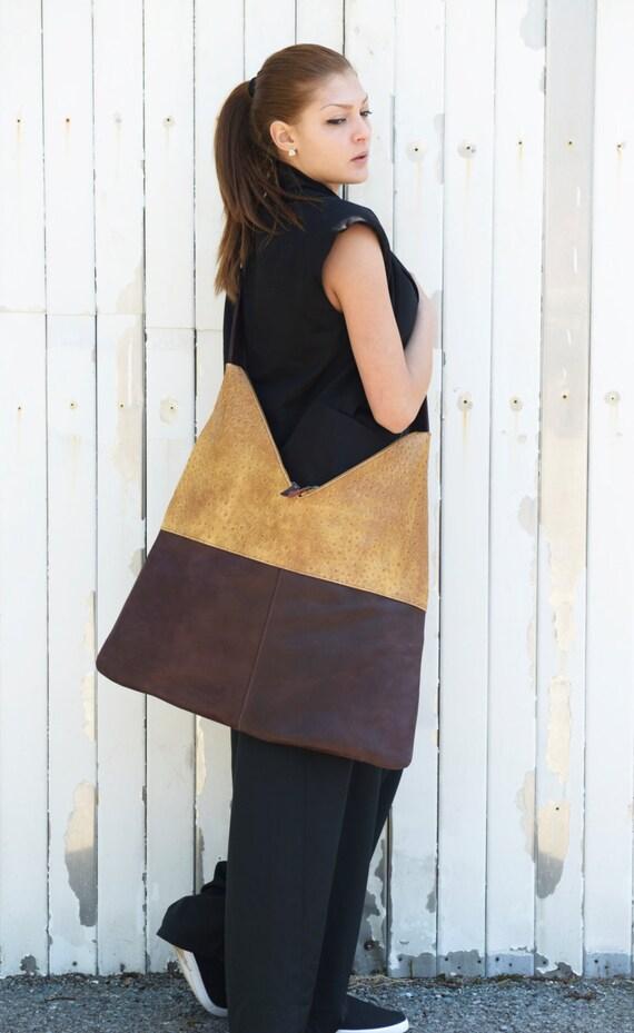 Brown and Yellow Bag / Shoulder Woman Bag / Designer Bag / Brown Bag / Brown Shoulder Strap by METAMORPHOZA