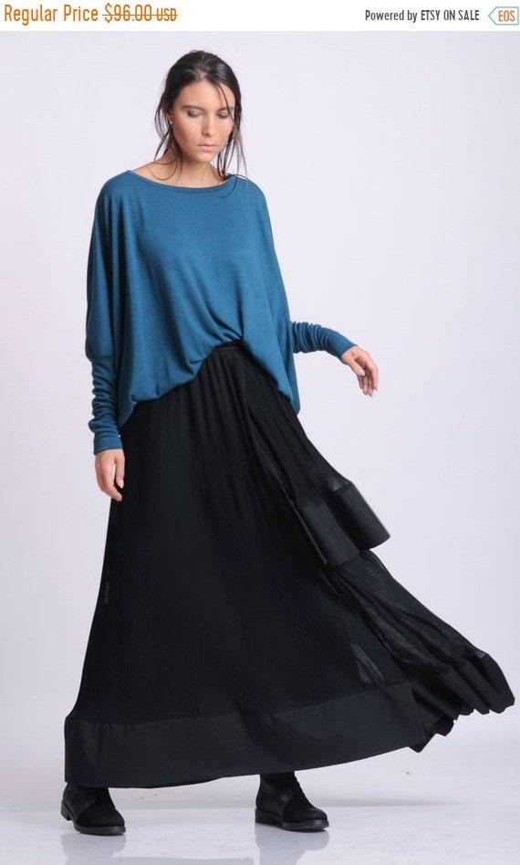 25% OFF NEW Black Pleated Skirt/Long Loose Skirt/Chiffon Black Skirt/Casual Skirt/Extravagant Skirt with Wide Hem/Elastic Waist Fashionable