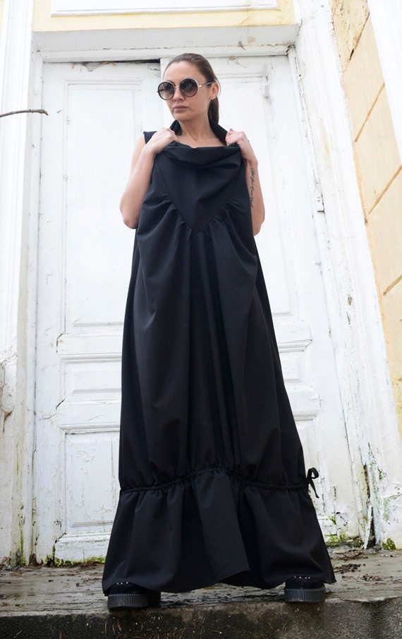 Black Maxi Dress/Sleeveless Loose Kaftan/Plus Size Black Dress/Sleeveless Collar Spring Dress/Extravagant Oversize Dress METD0032