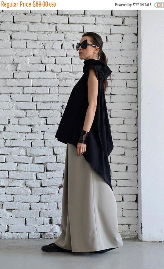 20% OFF Black Asymmetric Tunic/Black Maxi Top/Turtle Neck Collar Shirt/Polo Shirt/Black Tunic Dress/Extravagant Open Back Top/Cut Out Top ME