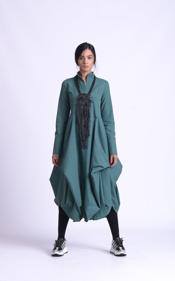 NEW Long Sleeve Dress/Asymmetric Casual Dress/Loose Collar Dress/A Line Shirt Dress/Extravagant Everyday Kaftan/Green Maxi Dress METD0162
