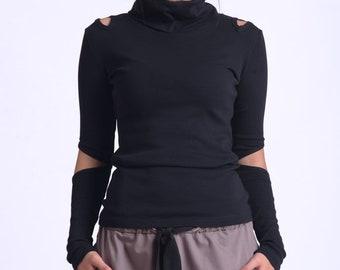 Black Casual Top/Extravagant Long Sleeve Blouse/Black Cutout Top/Turtleneck Casual Top/Modern Black Top METT0170