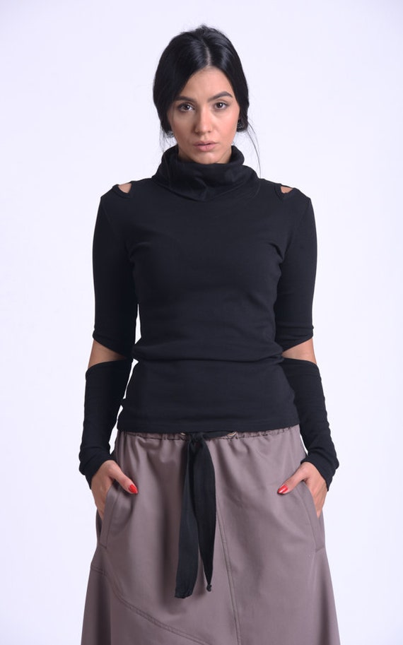 NEW Black Casual Top/Extravagant Long Sleeve Blouse/Black Cutout Top/Turtleneck Casual Top/Modern Black Top METT0170