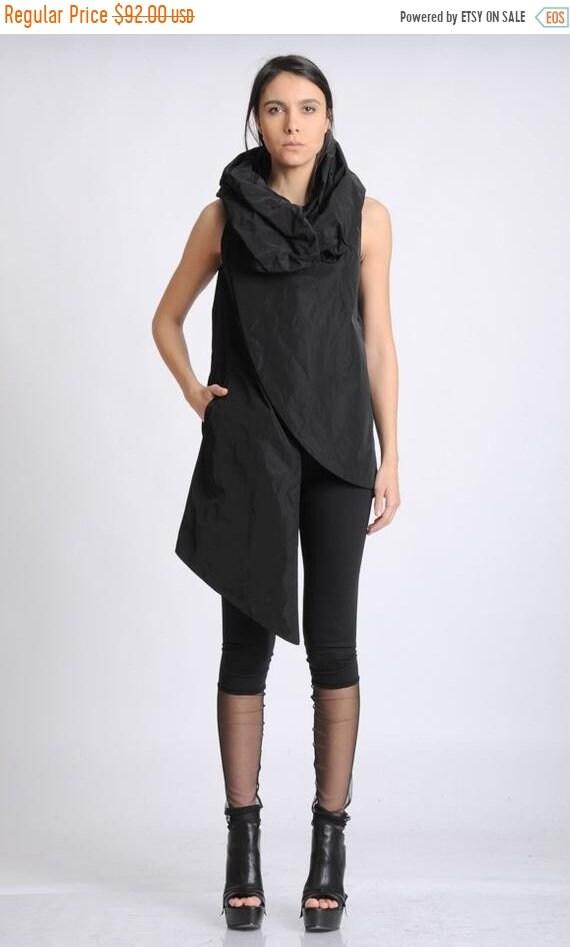 20% OFF Black Asymmetric Vest/Oversize Collar Shirt/Sleeveless Extravagant Tunic/Long Black Top/Modern Casual Long Top/Black Tunic with Pock