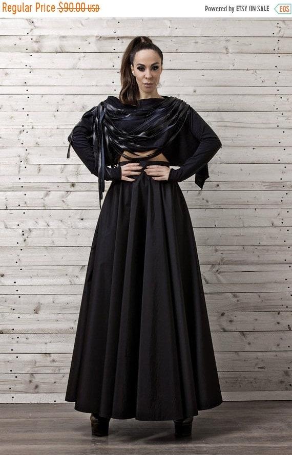 25% OFF Black Maxi Skirt / Long Black Skirt / Oversize Long Skirt / High Waisted Skirt / Elegant Evening Skirt / Loose Black Skirt by METAMO