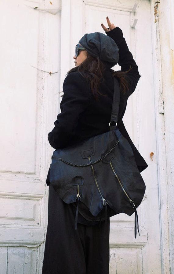 Black Leather Bag / Zipper Bag with Chains / Extravagant Black Bag/Genuine Leather Tote / Cross Body Bag / Large Black Purse by METAMORPHOZA