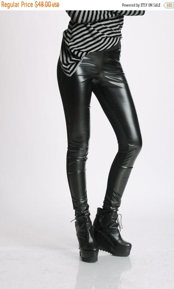 20% OFF Black Leather Pants/Black Extra Long Leggings/Slim Black Pants/Casual Black Leather Pants/Tight Leather Pants/Leather Leggings МЕТP0
