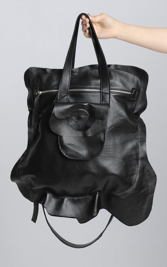Genuine Leather Black Tote Bag/Large Front Pocket Bag/Asymmetric Zipper Black Bag/Extravagant Asymmetric Black Bag/Large Casual Tote Bag