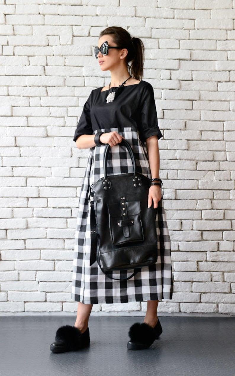 Black Genuine Leather Cross Body Bag/Extravagant Large Black image 0