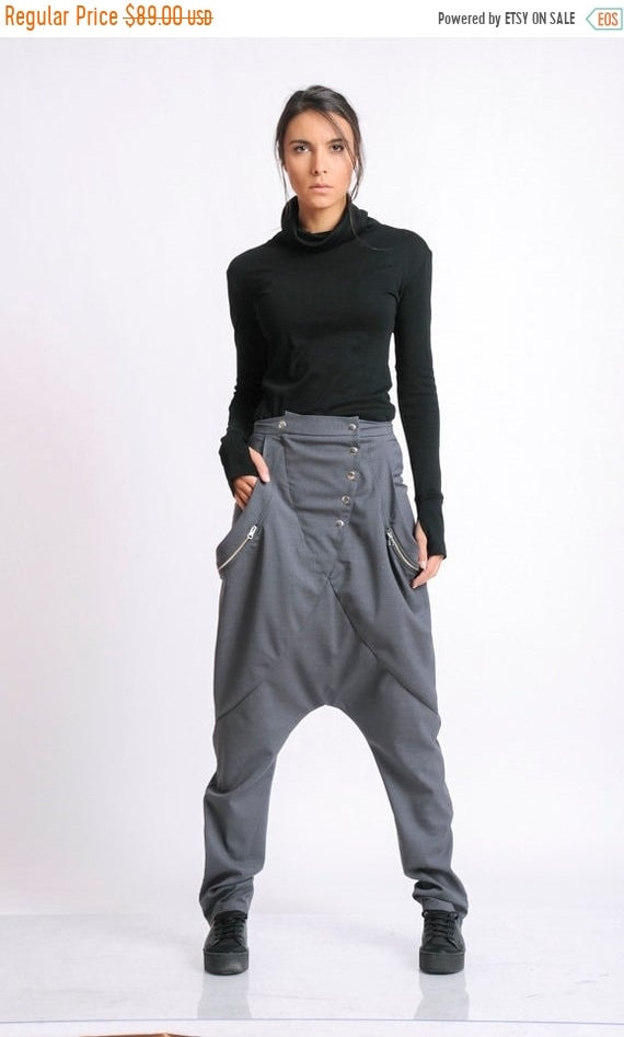 20% OFF Loose Harem Pants/Grey Plus Size Pants/Extravagant Oversize Trousers/Maxi Pants/Casual Everyday Trousers/Harem Pants METP0050